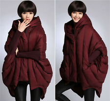 Lady 90% Down Coat Cocoon Oversize Hooded Zip Loose Cape Winter Jacket Outerwear