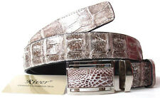 BIG BACKBONE GENUINE CROCODILE LEATHER MEN'S BELT SHINY IVORY WHITE SIZE 34-44