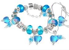 European Bracelet Aqua Murano Glass Hearts Swarovski Beads FREE Necklace