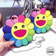 For iPhone 6 6S 7 7Plus 3D Smile Face Sun Flower Sunflower Case Silicone Cover