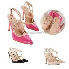 Women Ladies Party Pointy Toe Dress Casual High Heel Spike Studded Pumps Shoes