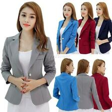 Womens OL Slim Solid Suit Blazer Jacket Coat Lady Casual One Button Tops Outwear