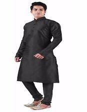 Indian Traditional Bollywood Black Kurta Pajama Man's Casual Ethnic Wear.