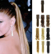 Fashion Women Clip In Hair Extension Pony Tail Wrap Curly Straight Claw Ponytail