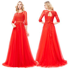 Red Tulle Lace Formal Evening Gown Ball Party Cocktail Bridesmaid Prom Dresses