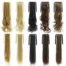 Fashion Girl Hairpiece Long Straight Curly Hair Ponytail Clip-on Hair Extensions
