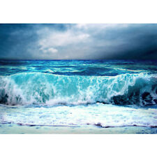 "Fleece Photo Wallpaper ""Blue Seascape"" ! Sea Ozean Water Wave Storm Blue"
