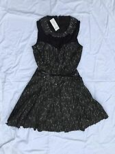Bebe Dress Angelina Tweed Dress w/Mesh Black White Womens Size 6 New NWT 176843