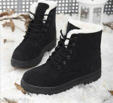 Womens Winter Casual Faux Suede Fur Lace-up Snow Boots Warm Ankle Shoes