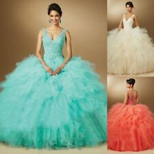 Quinceanera Dress Crystal Ball Gown Beaded Cocktail Party Prom Evening Dresses