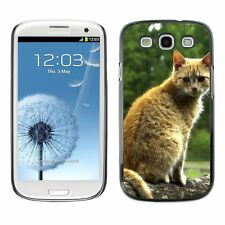 Hard Phone Case Cover Skin For Samsung Red street cat seating