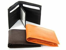 Men's Cow-hide Leather Double Bill 9 Credit Card 3 ID Bifold Wallet Holder NEW