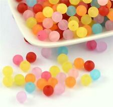 TOP QUALITY 6mm 8mm 10mm ACRYLIC FROSTED BEADS MIXED COLOURS
