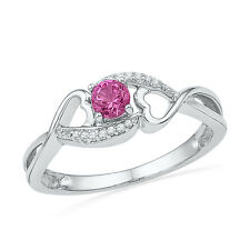 Created Pink Sapphire and Diamond Ring Side Heart Design Rhodium on Silver