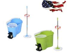 360° Rotating Floor Mop Easy Magic Spin Mop Microfiber Spining W/Bucket 2 Heads@