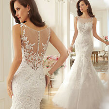 LACE Mermaid White Wedding Dress Bridal Gown Custom Made 4 6 8 10 12 14 16+