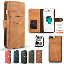 Practical Magnetic Detachable PU Leather Flip Card Wallet Case Cover for iPhone