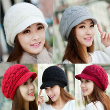 Winter Women Ladies Beret Warm Baggy Beanie Knitted Crochet Hat Slouch Ski Cap