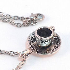 3D Tea Cup Charm Necklace, Antique Silver, Free Ship, Optional Personal Charm
