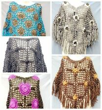 Unique Handmade Batwing Crochet Top Poncho Sweater Floral Net Knitting Outwear