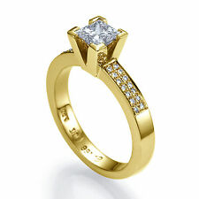 Solitaire Engagement Ring Princess 0.82 CT D VS2 Natural Diamond Gift Jewelry