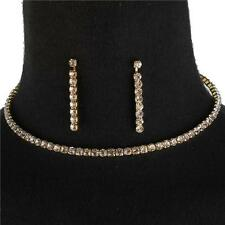 Simple Crystal Rhinestone Evening Bridal Gold Chain Choker Necklace Set