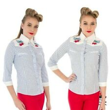 Blue Gingham Check Shirt Jessie by Hell Bunny blouse retro vintage western