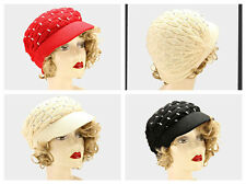 Metallic Crystal Studded Knit Warm Winter Beanie Ski Visor  Hat