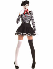 Ladies Sexy Mime Artist French Outfit Halloween Fancy Dress Costume