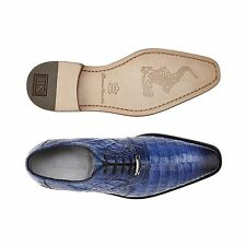 Belvedere Mens shoes Edo 100% Genuine Crocodile Antique Navy Blue Lace Up 1630