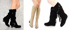 Lot Nude Black Fringe Moccasin Boots Faux Suede Chunky Lace Up Knee High Boots
