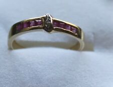 9ct Gold Ruby and Diamond Band Ring