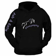 WOMENS Black & Purple Equestrian horse riding Hoodie Show jumping Personalised