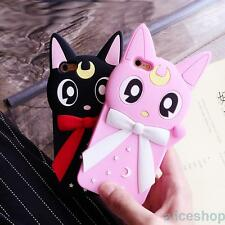 For iPhone 7 7 Plus 6 6S 3D Sailor Moon Luna Cat Silicone Soft Back Case Cover
