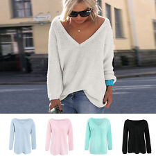 Women Girl Cotton Knitted Sweater Long Sleeve Loose Jumper Pullover V-neck