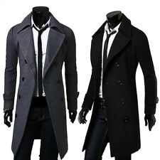 Men's Slim Winter Stylish Trench Coat Long Jacket Overcoat Double Breasted