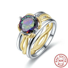 Free Jewelry Box Solitare Rainbow Topaz 100% 925 Sterling Silver Ring Sz 6 7 8 9