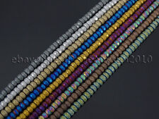 Natural Matte Hematite Gemstones 2mm x 3mm Faceted Rondelle Loose Beads 16''