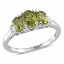 Hebei Peridot 3 Stone Band Ring. 925 Sterling Silver.