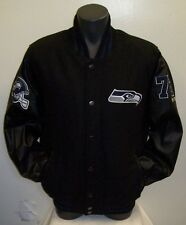 SEATTLE SEAHAWKS Wool Body Jacket with Faux Leather Sleeves Jacket XL
