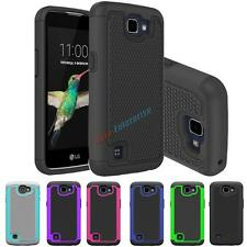 For LG Optimus Zone 3 / K4 / Spree Hybrid Hard Slim Grid Armor Case Phone Cover