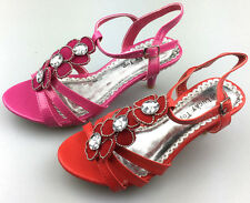 NEW Girl's Rhinestones Party Pageant Sandals Dress Shoes Low Heel SIZE 10-4 S2K