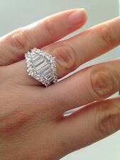 CZ RING Cluster Baguette Ring .925 sterling silver ring Width: 15.3mm