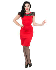 Hearts and Roses H&R Pin Up 50's Retro Lucy Red Wiggle Dress Rockabilly
