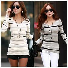 Women Long Sleeve Striped Shirt Casual Blouse Slim Cotton Tops T Shirt Pullovers