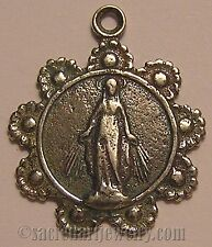 Antique Religious Medal Catholic Sterling Silver / Bronze Miraculous Mary #591