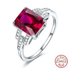 Free Jewelry Box Women Wedding Gifts Ruby S925 Sterling Silver Ring Size 6 7 8 9