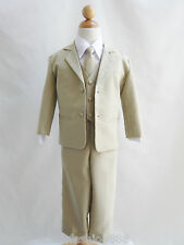 Baby Toddler Teen boy khaki/taupe/white formal suit wedding party all sizes