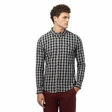 Red Herring Mens Grey Gingham Checked Slim Fit Shirt From Debenhams