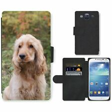 Phone Card Slot PU Leather Wallet Case For Samsung English Cocker Spaniel dog